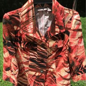 Chicos jacket, tropical leaf sz 0 red brown cream
